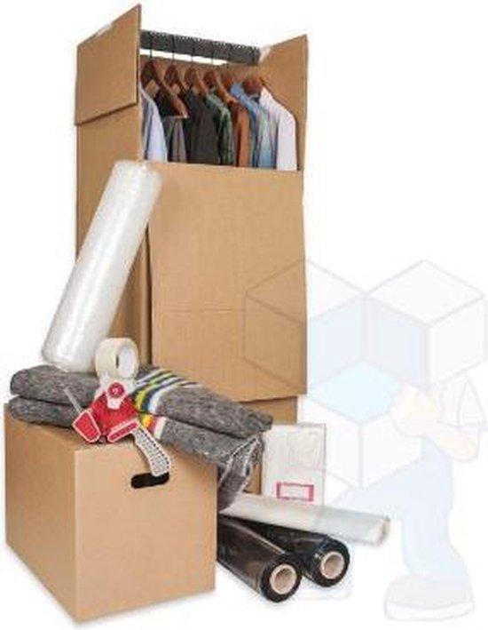 Verhuisdoos voor Kleding. 2 Kledingboxen voor al uw kledingstukken inclusief  roede.