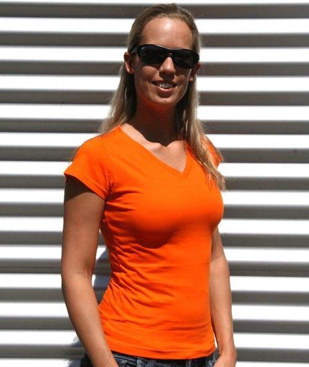 Dames t-shirt  V-hals oranje 36 (S)