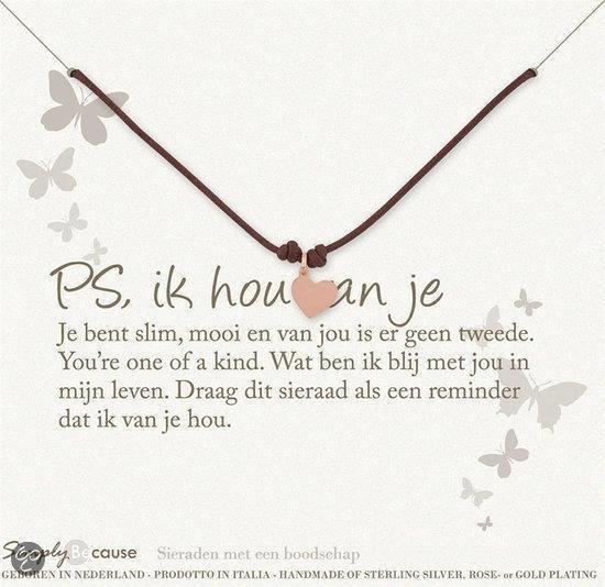 Simply Because PS, ik hou van je! Wax-armband (roségoud, bedel hartje) 18-20 cm