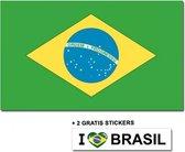 Braziliaanse vlag met 2 gratis Brazilie stickers