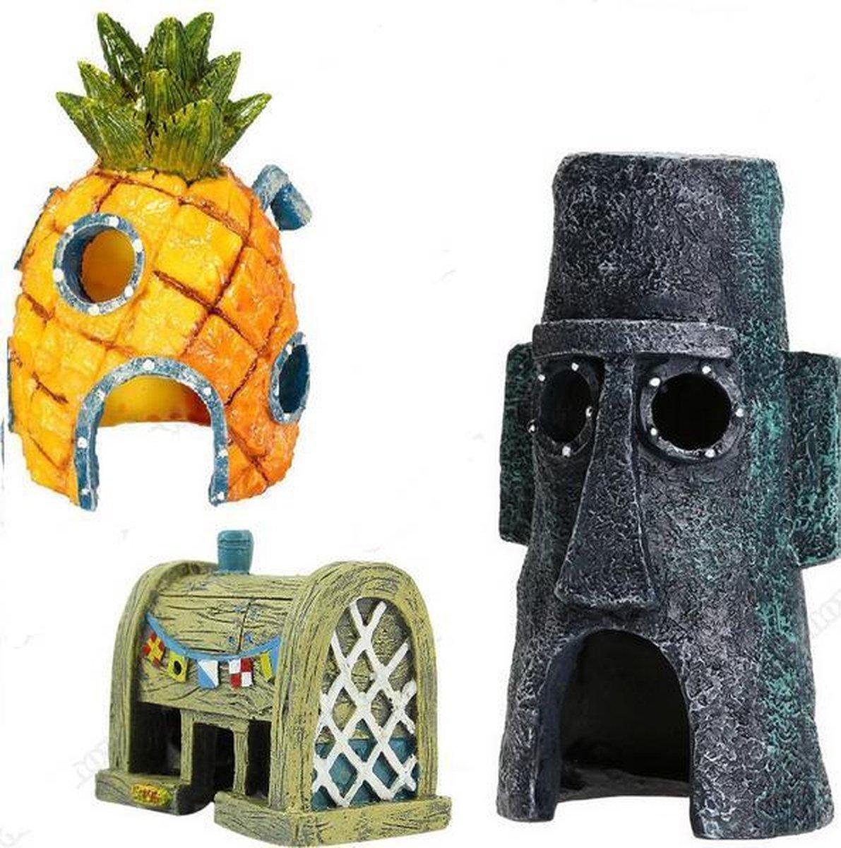 Spongebob Aquarium Decoratie - Set Van 3 - 13 cm
