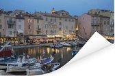 De haven van Saint-Tropez tijdens schemering in Frankrijk Poster 180x120 cm - Foto print op Poster (wanddecoratie woonkamer / slaapkamer) / Europese steden Poster XXL / Groot formaat!