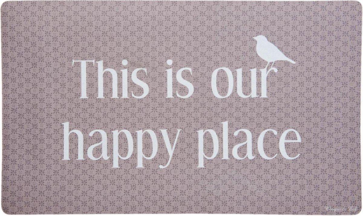 Clayre & Eef Deurmat 75x45 cm this is our happy place - Clayre & Eef