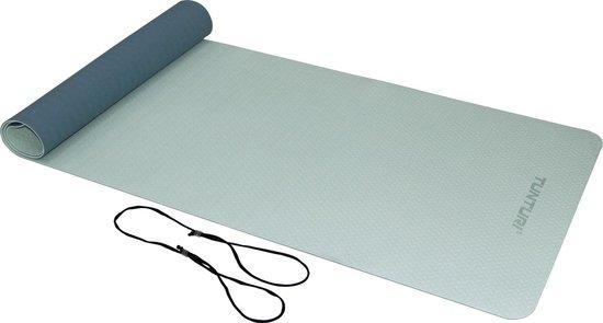Tunturi TPE Yogamat - Fitnessmat 4mm dik - zwart koord - Blauw