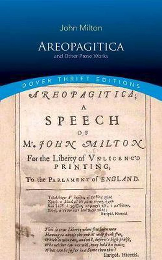 Boek cover Areopagitica and Other Prose Works van John Milton (Paperback)