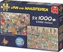 Jan van Haasteren Fijne Feestdagen 2in1 Puzzel Oud en Nieuw Feestje en De Fabriek van de Kerstman 2x 1000 Stukjes