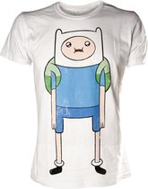 Adventure Time Heren T-shirt Wit Finn Print Maat XL