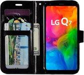 LG Q7 portemonnee hoesje - Zwart