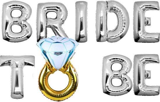 Ballonnen set Bride to be met ring zilver