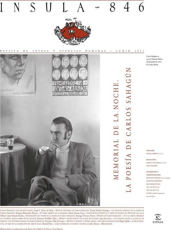 Memorial de la noche. La poesía de Carlos Sahagún (Ínsula n° 846, junio 2017)