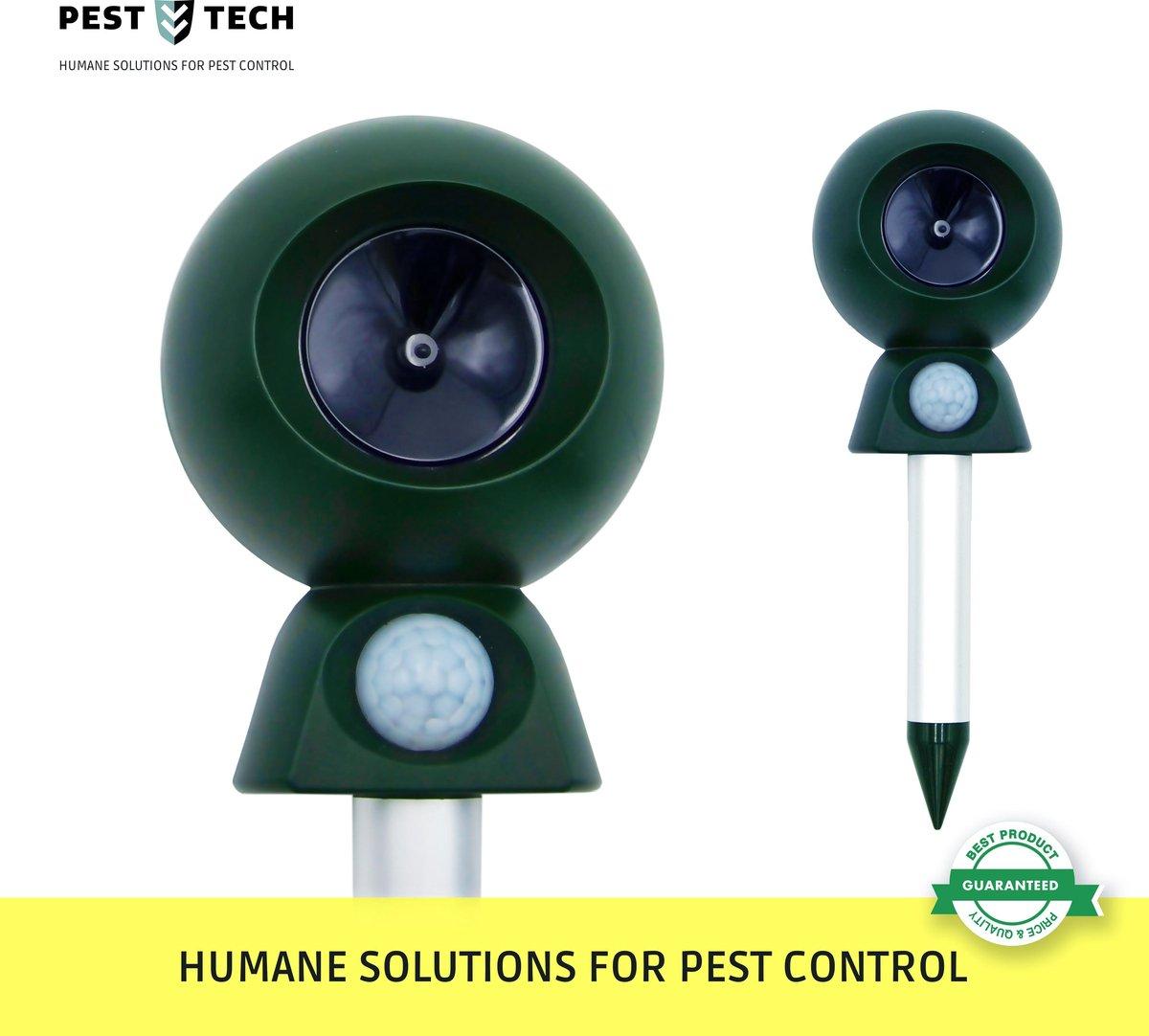 Pest Tech ® - Ultrasone Kattenverjager. Verdrijft katten, honden, ratten, muizen, vossen, vleermuizen, steenmarters, etc. - Pest Tech