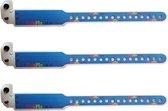 SOS polsbandjes – Set van 3 Naambandjes met kindveilige sluiting - ID bandjes – Infobandjes voor kinderen van ca. 0-6 jaar - KidsPlaza.nl – Blauw