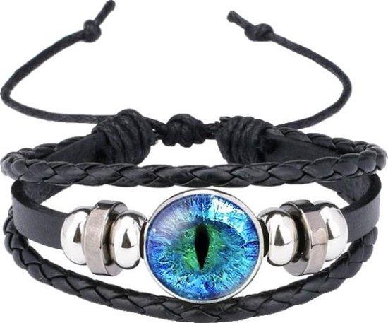 Fako Bijoux® - Armband - Leder - EYE Catcher - Blauw