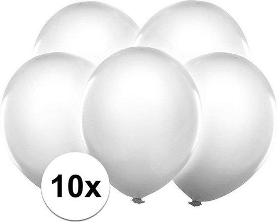 10x Witte party ballonnen met LED lichtjes 30 cm