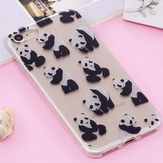 Let op type!! For iPhone 8 & 7 IMD Glitter Powder Panda Pattern Transparent TPU Cover Back Case
