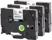 3x Brother Tze-231 TZ-231 Compatible voor Brother P-touch Label Tapes - Zwart op Wit - 12mm x 8m