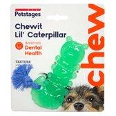 Petstages Orka Chewit Lil' Caterpillar - Hondenspeelgoed - 12x5x1 cm 100 g Mintgroen Blauw