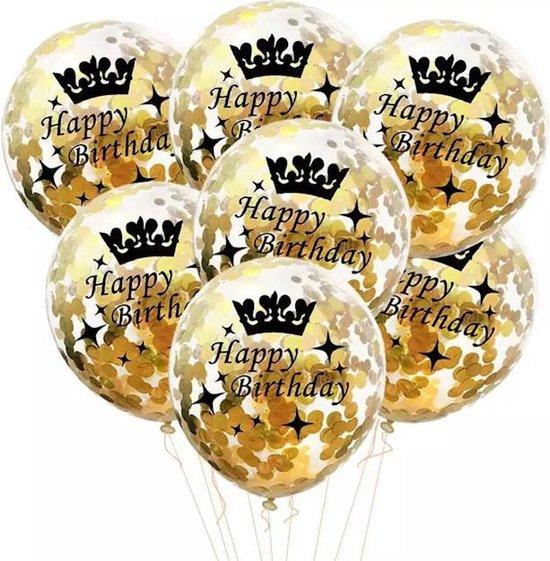 10 confetti ballonnen goud Happy Birthday|Ideaal voor feesten en andere gelegenheden