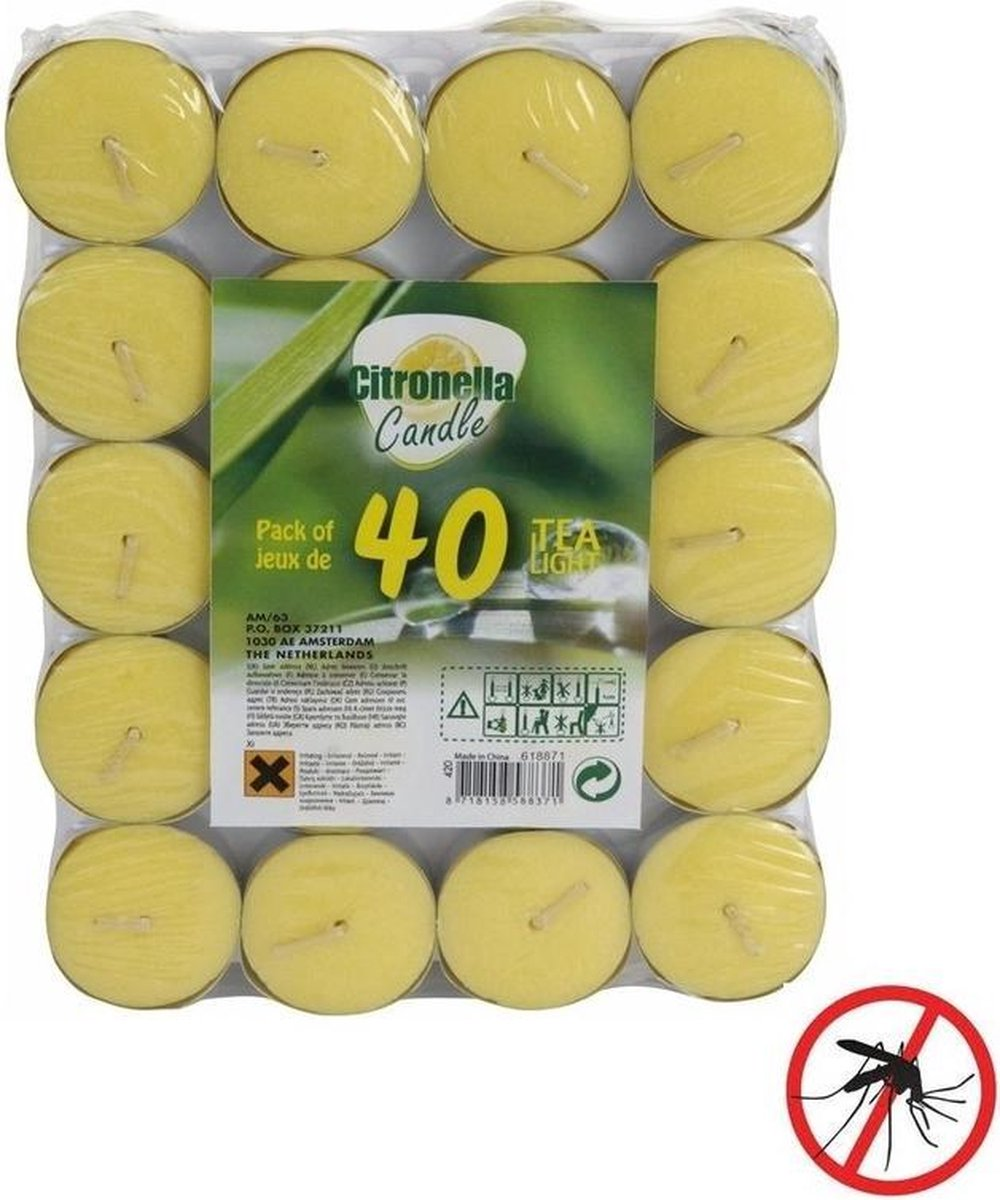 40x Anti muggen waxinelichtjes met citronella geur
