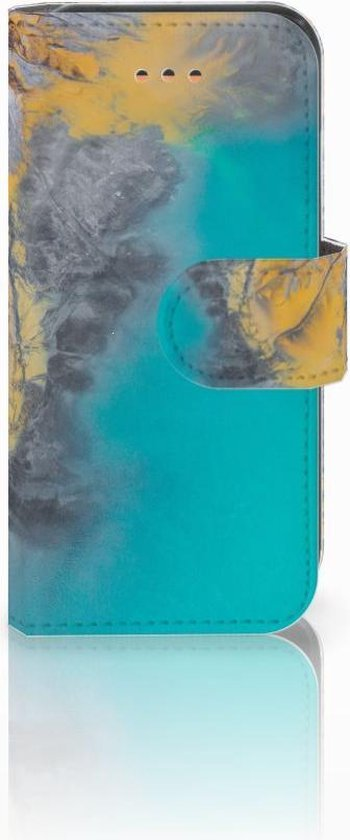 iPhone 5C Bookcase Hoesje Design Marble Blue Gold
