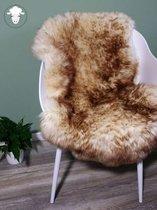 Schapenvacht Moeflon - LARGE (105cm) - Bruin Wit Melange - 100% Echte Schapenvel