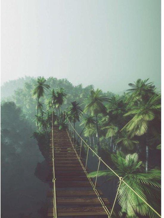 Fotobehang Hangbrug in de Jungle 192x260 cm - eenvoudig aan te brengen vliesbehang - WallArt