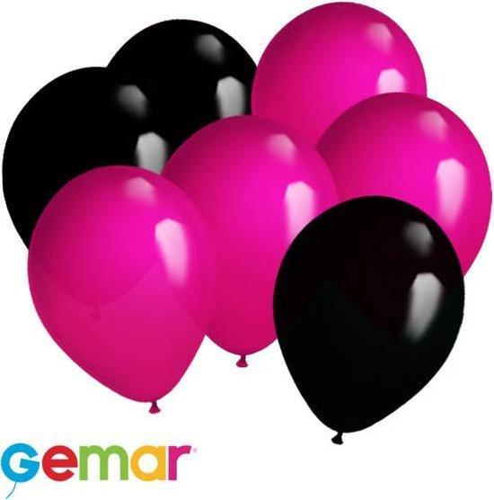 30x Ballonnen Magenta en Zwart (Ook geschikt voor Helium)