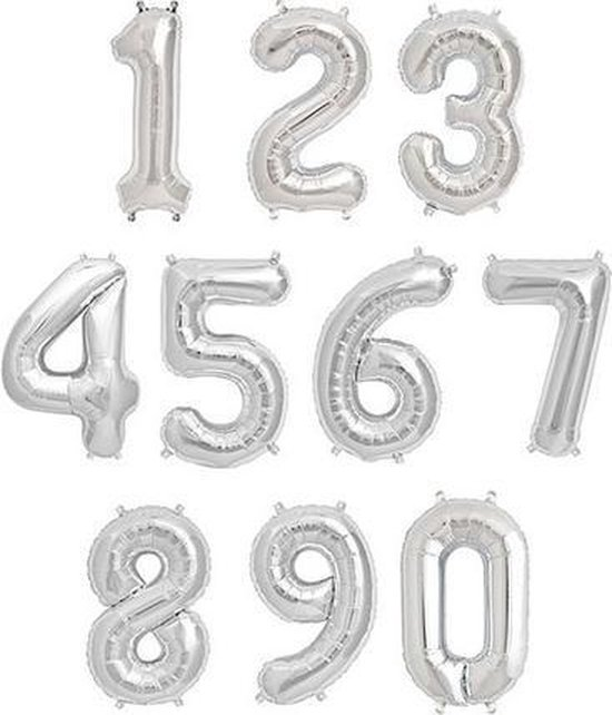 Cijfer ballon 4 Zilver