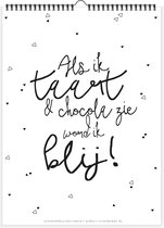 Verjaardagskalender   Taart & Chocola   kalender   zwartwit