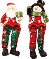 Sneeuwman + Kerstman met bungelbenen H=14,5cm - Set van 2