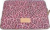 Lisen Laptop Sleeve tot 13-13.3 inch - 34,5 x 24 x 1,5 cm - Panterprint - Roze/Zwart