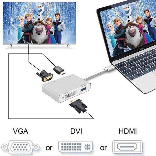DrPhone 4 in 1 HUB – USB-Type C naar VGA + 4K DVI + 4K HDMI & USB – Zilver