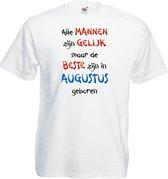 Mijncadeautje - T-shirt - wit - maat L - Alle mannen zijn gelijk - augustus