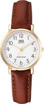 Mooi dames horloge -goudkleurig/bruin met duidelijke wijzerplaat-Q979J104Y