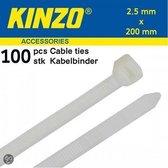 Kinzo Kabelbinders 2.5x200mm wit 100 stuks