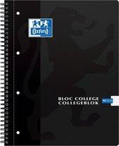 Oxford School Collegeblok - Schrijfblok - A4 - Ruit 5 mm - 4 gaats - 180 pagina's - Zwart