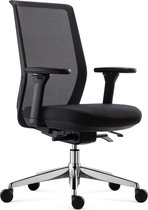 BenS 837Cr-Synchro-4 Luxe ergonomische Arbo bureaustoel met een Synchro tention mechaniek en een gepolijst aluminium voetenkruis  Voldoet aan EN1335 & ARBO normen Zwart