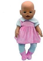 Poppenkleertjes - Set met roze jurkje, witte maillot en slofjes voor pop zoals Baby Born (lengte max 42 cm)