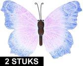 2x Blauw/lila metalen vlinders 40 cm tuinversiering - Schuttingdecoratie/tuindecoratie vlinders