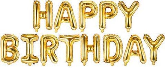 Folieballonnen Happy Birthday goud - 340 cm x 35 cm