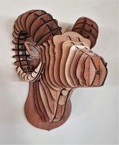 """Diervriendelijke houten jachttrofee """"Ram"""""""