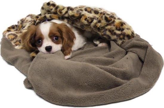 Nobby snuggle puppy fleece pocket bed - luipaard print - bruin - 80 x 50 cm