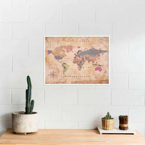 Miss Wood - Woody Map Watercolor kurken wereldkaart met witte frame - 60x45cm  (L) - Old School