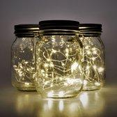 Gadgy Solar Jar Fairy Lights – 3 potten - LED string verlichting – Tafellamp met dag/nacht sensor op zonne energie - 7x13cm