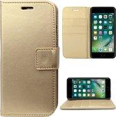 Apple iPhone 7 Plus / 8 Plus Hoesje Lederen Bookcase met Siliconen TPU Telefoonhouder - Goud - van iCall