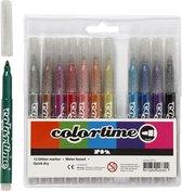 Afbeelding van Colortime - Marker 4,2 mm - Glitter - 12 pcs (37371)
