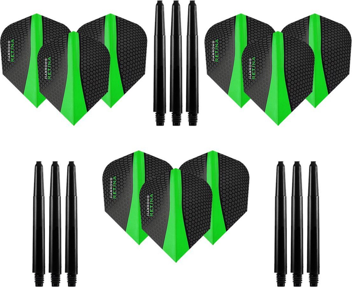 9 stuks Harrows Retina - Groen - Darts flights - en 9 stuks Dragon Darts - Medium - darts shafts