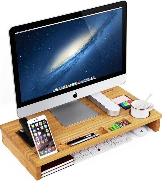 Monitor Verhoger Standaard - Laptop Beeldschermverhoger - Bureau Beeldscherm Verhoging - Hout