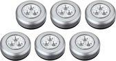 Luxe Zilveren Zelfklevende LED Druklampen Set - 6 Stuks   Werkt Zonder Stopcontact  3 LED per Mini Spot Lamp   Push Light   Druk Lamp   Licht voor Voorraadkasten   Tenten   Auto's en Boten