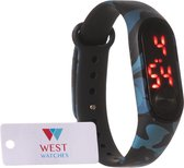 West Watch - LED kinderhorloge - model Sun - 16 mm - camouflage / leger kleur blauw